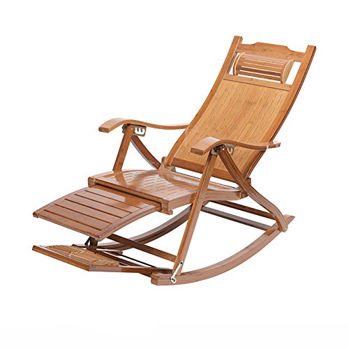 Rocking Chairs WSSF- Antique Relax Bamboo Hollow Folding Deckchairs Outdoor Office Balcony Patio Beach Leisure Summer Cool Lunch Break Backrest Lazy Sun Lounger Collapsible ()