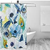 Peacock Feather Home Decor Shower Curtain Set By ALAZA,Vintage Art Floral Tree Watercolor Painting,Polyester Bathroom Shower Curtain Set with Hooks,60W X 72L Inches,Blue