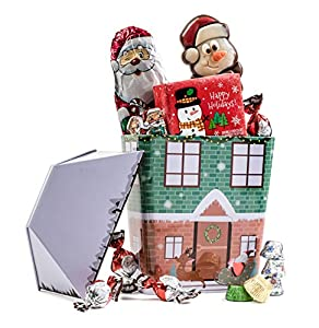 Happy Holidays Santa and Frosty The Snow Man Collectible Christmas Village Tin with Assorted Chocolate gift for kids