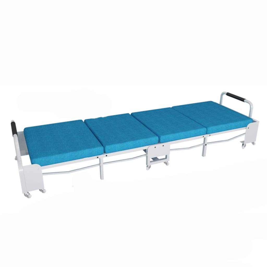 Office Lunch Bed Chair Tragbare Single Home Verstärkung Einfache und langlebige wirtschaftliche Leinen Klappbett (Color : Blue, Size : 70cm)