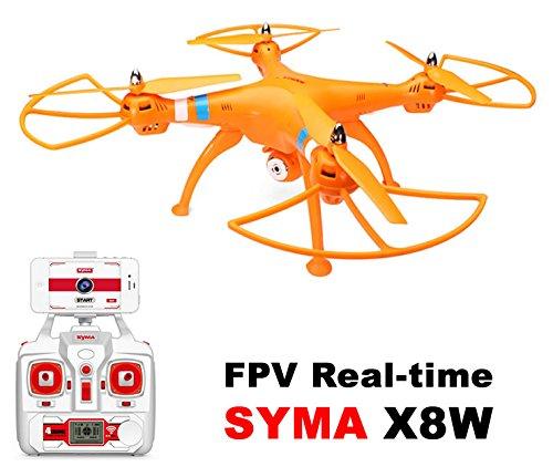 Drone dron grande SYMA X8W Naranja FPV cámara HD 2MP WIFI COMPLETO ...