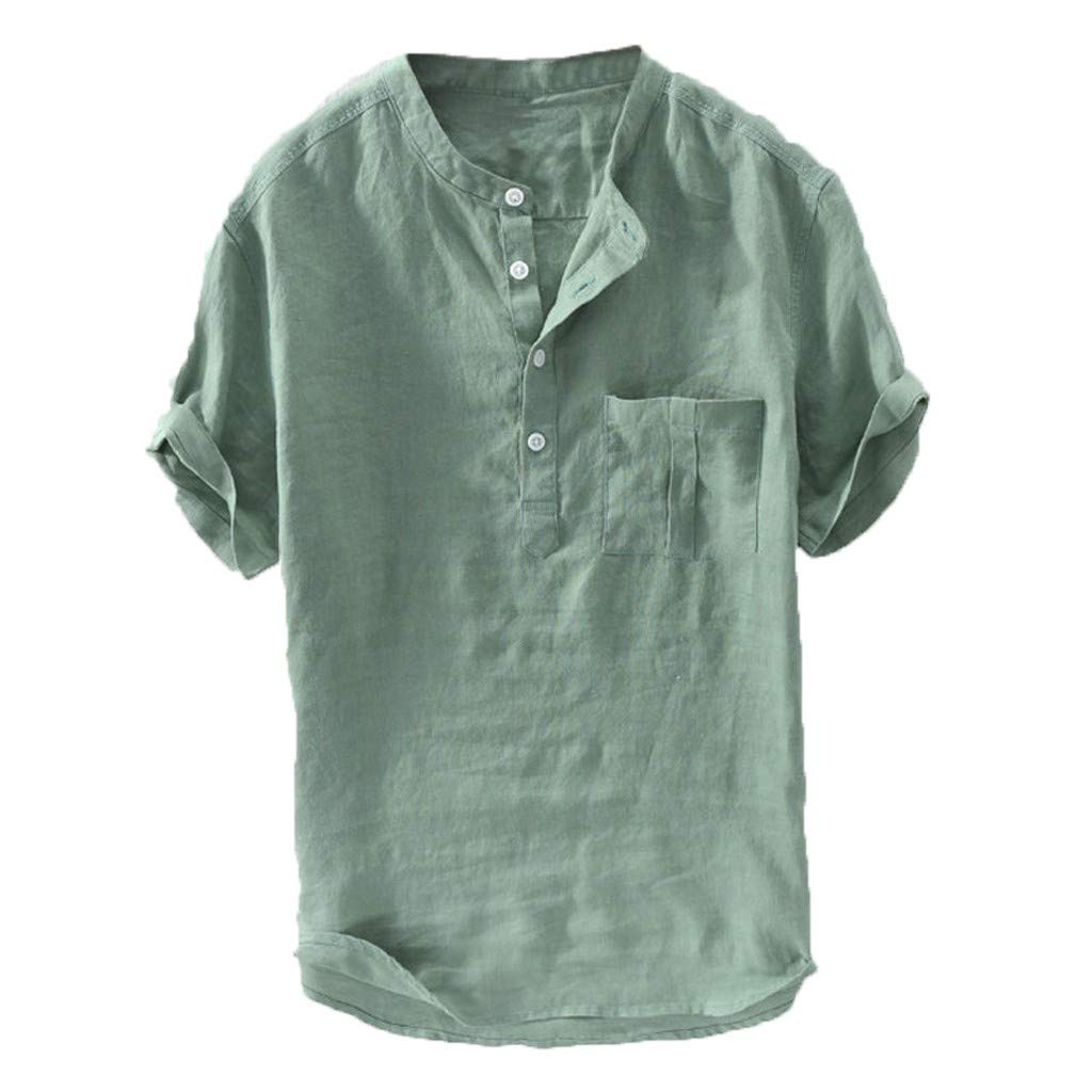 Pervobs Men's Summer Fashion Short Sleeve Button Solid Color Causal V-Neck Comfortable Loose T-Shirts Blouse Top(L, Green)