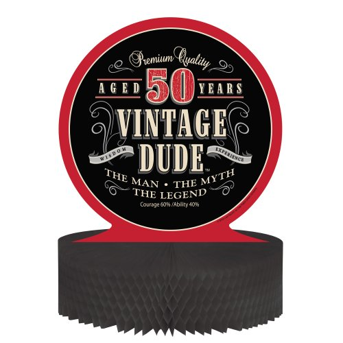 Creative-Converting-Vintage-Dude-50th-Birthday-Centerpiece-with-Honeycomb-Base