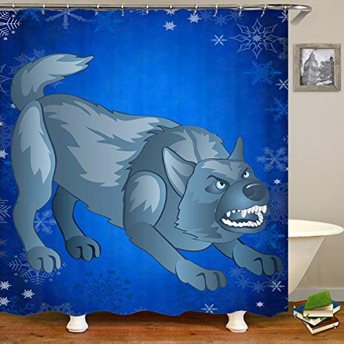 SARA NELL Angry Gray Dog Bares His Teeth Animated Werewolf Shower Curtain,Waterproof Polyester Fabric,Extra Long Bath Curtains Bathroom Decorations,72X72 Inches with 12 Hooks