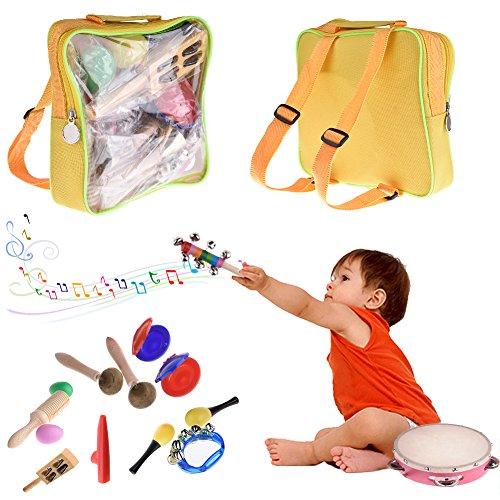 Samber 16 Pièces Jouets Musicaux Ensemble de Percussions Bois Jouet Instrument de musique enfant bois jouets musicaux pour bébés