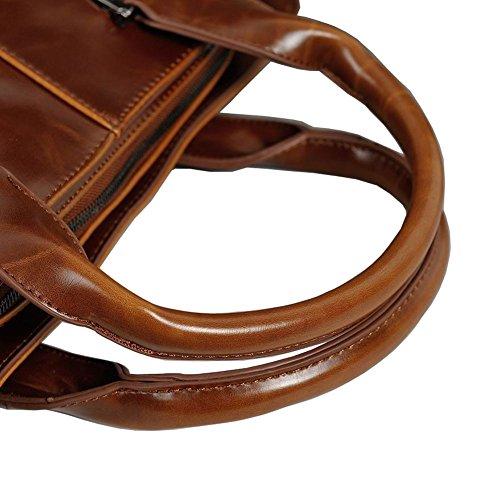 Hombres Retro PU Maletín Bolso Bandolera Mensajero del Ordenador Portátil de Negocios Entrepiso Especializada puede Mantener el Portátil de 14 pulgadas marrón 1