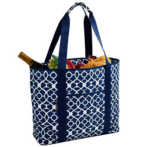 Picnic at Ascot  Extra Large Insulated Cooler Bag - 30 Can Tote - Trellis Blue