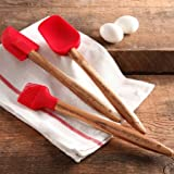 The Pioneer Woman Cowboy Rustic 3-Piece Silicone Head Utensil Set with Acacia Wood Handle (Red)