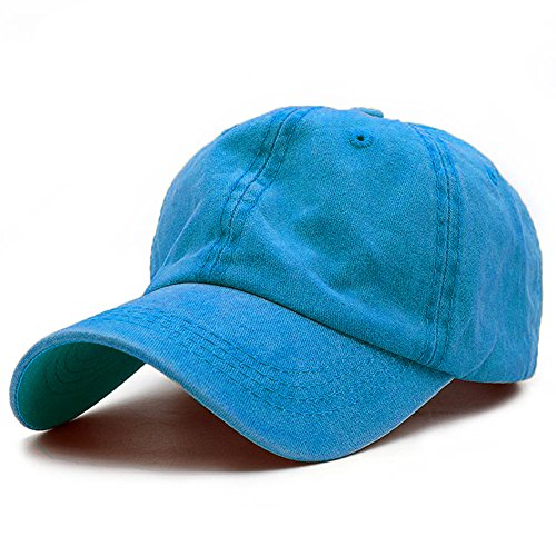 (G4S3 Unisex Solid Classic Cotton Adjustable Washed Twill Low Profile Plain Baseball Cap Sport Hat (Sky Blue))