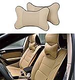 SameDream 2PCS Universal Car Neck Pillow Car Seat Pillow Breathable Auto Head Neck Rest Cushion Headrest Pillow Pad for Travel Car Seat & Home (Beige)