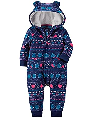 Carters Baby Girls Aisle Print Fleece Jumpsuit