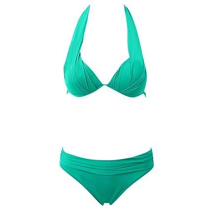 88dc8126b9bb CAIjj Juego de bikini de dos piezas con escote halter push-up de dos ...