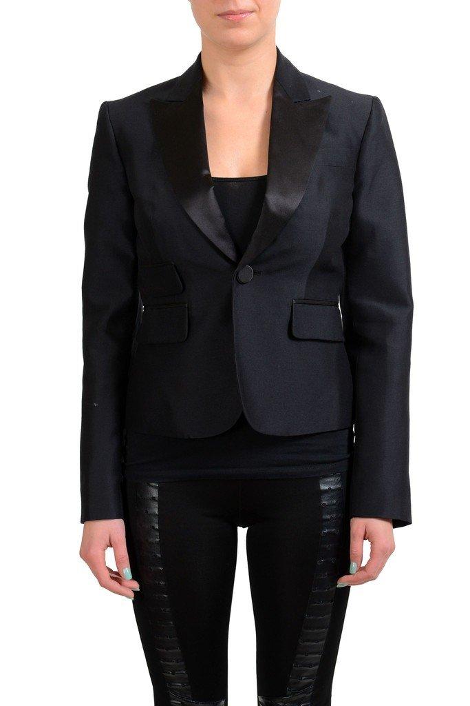 Dsquared2 Wool Silk Black One Button Tuxedo Style Women's Blazer US M IT 42; by DSQUARED2