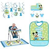 Mickey's 1st Birthday Party Decorations Supply Pack Includes Hanging Decorations, High Chair Decorations, Bib, and Candle Set