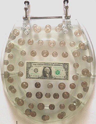 Heavy Duty Comfort Toilet Round Seats with Fake Coins, Real 1 Dollar bill Cover Acrylic Seats (Dollar 17