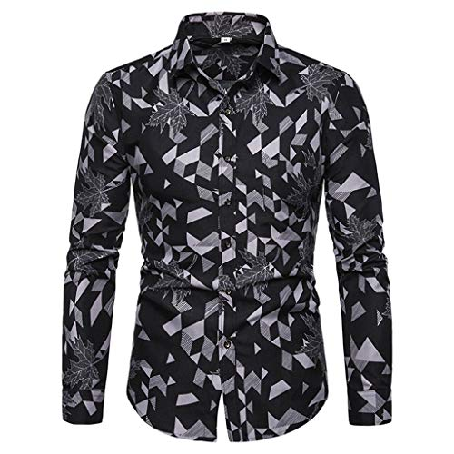 NIKAIRALEY T-Shirt Men's Slim Fit Business Casual Printed Long Sleeves Button Down Dress Shirts Blouse Office Work Tops Tee