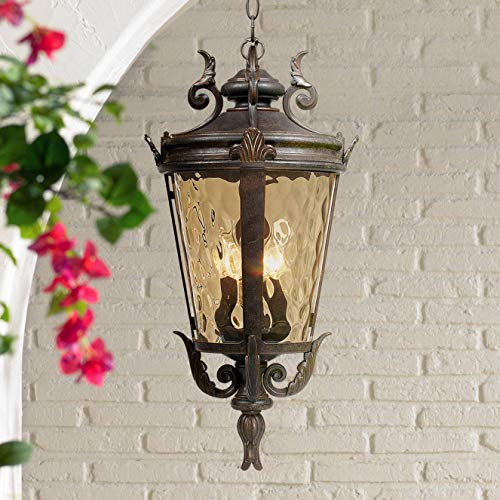 Casa Marseille Traditional Outdoor Ceiling Light Hanging Mediterranean Veranda Bronze Scroll 23 3/4