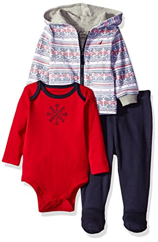 Nautica Baby 3 Piece Cardigan, Pant, Bodysuit Set, Red Rouge, 3-6 Months