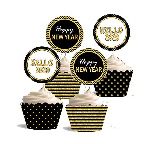 7-gost 24Sets 2020 New Year's Eve Party Cupcake Toppers Wrappers Cake Party Supplies Decoration