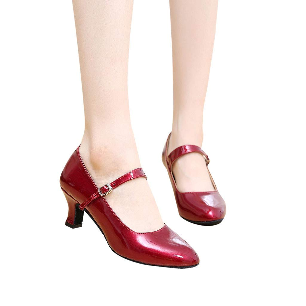 Woman Shoes Heel,Womens Pointed Toe Retro ango Rumba Ballroom Dancing Party Shoes Glossy Shoes Buckle Ballet Shoes Red