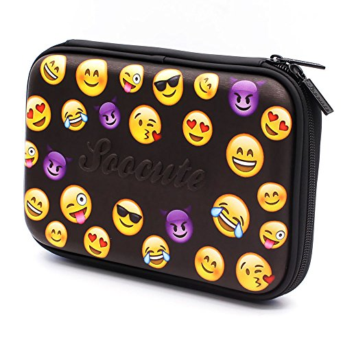 Black Emoji Large Capacity Girls Boys Cute Colored Pen Organizer Cosmetic Bag School Pencil Case Box with Compartments