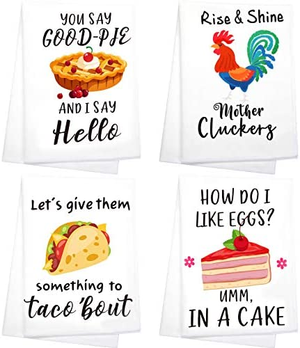 4 Pieces Funny Quotes Kitchen Towels Dishcloths Home Housewarming Present Flour Sack Cleaning Towel Drying Dishes Cooking in Kitchen Household Tea Towels for Wedding Shower Party Supplies Favors
