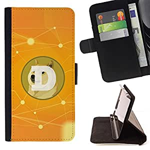 DEVIL CASE - FOR HTC One M7 - Funny Doge D Coin Dogecoin - Style PU Leather Case Wallet Flip Stand Flap Closure Cover