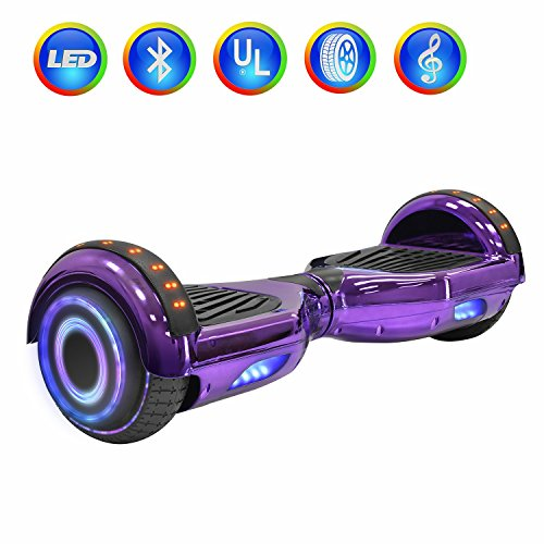 "NHT 6.5"" Hoverboard Electric Self Balancing Scooter Sidelights - UL2272 Certified Chrome Color (Chrome Purple)"