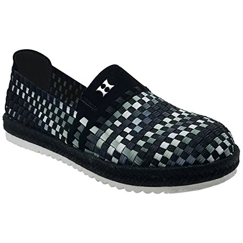 Heal Select Tahoe Women's Woven Flats, Slip On Shoes Support Plantar Fasciitis Foot Pain & Problems Charcoal Multi