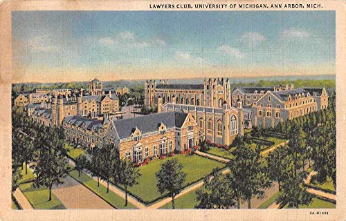 Ann Arbor Michigan University Lawyers Club Vintage Postcard J926426