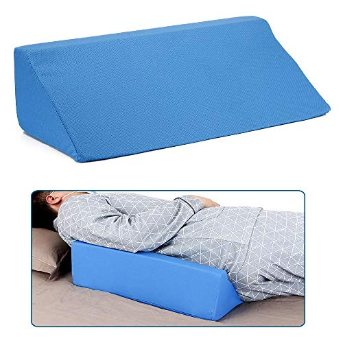 Best Wedge Pillow Body Position Wedges Back Positioning Elevation Pillow Case Pregnancy Bedroom Eevated Body Alignment Ankle Support Pillow Leg Bolster (Blue)