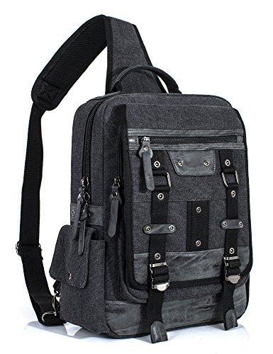 (Leaper Retro Messenger Bag Sling Bag Outdoor Cross Body Bag Shoulder Bag Black)