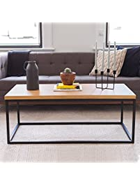 solid wood coffee table modern industrial space saving sofa couch living room furniture