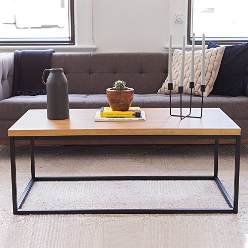 Solid Wood Coffee Table - Modern Industrial Space Saving Sofa / Couch Living Room Furniture, Metal Box Frame, Natural (Wood And Metal Coffee Tables)