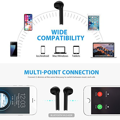 Wireless Earbuds, Bluetooth Headphones Mini Size, Stereo in-Ear Wireless Headphones with Mic and Charging Case, Bluetooth Earbuds with Noise Canceling Compatible with iPhone iOS Android Smart Phones by AtecKe (Image #3)