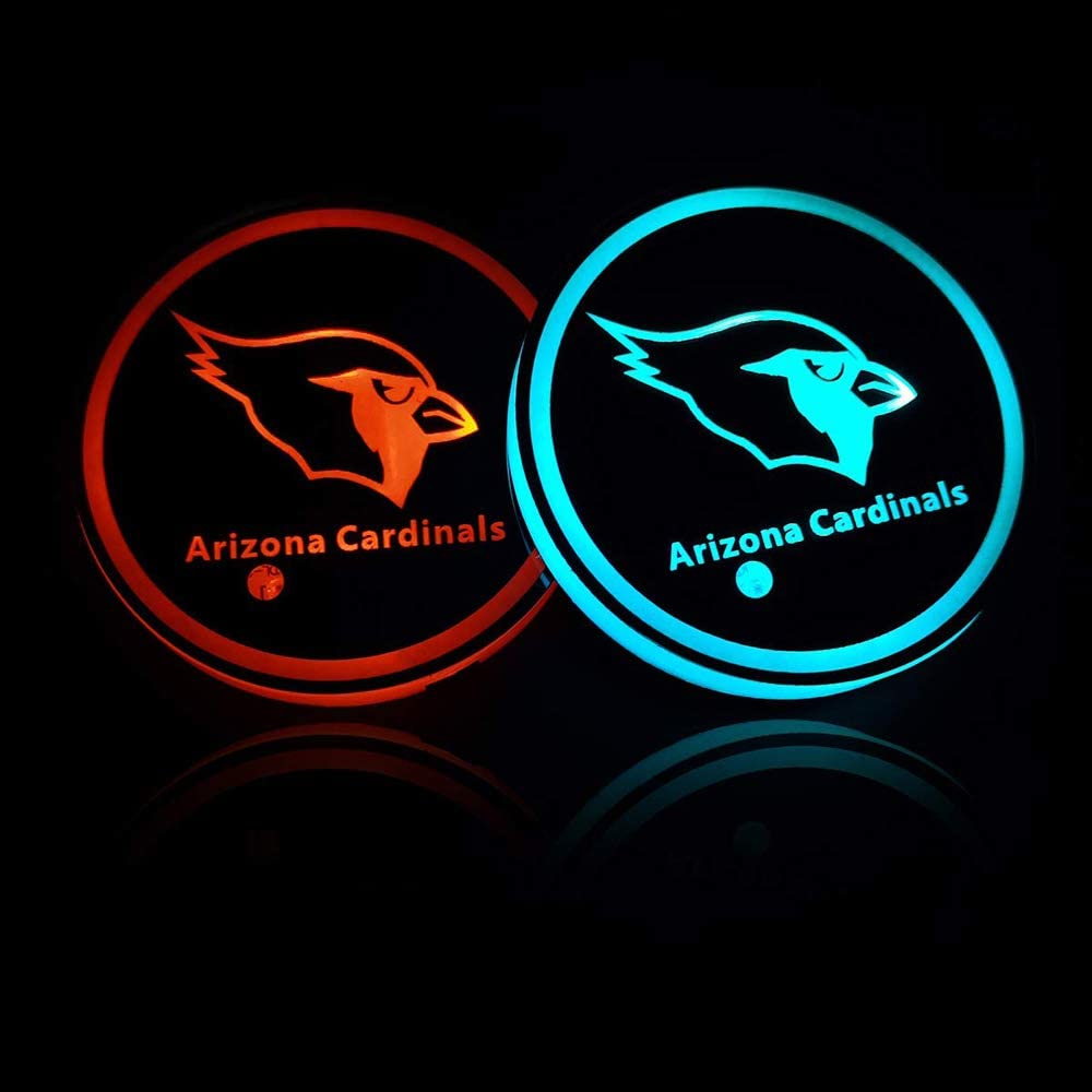 Fubai Auto Parts 2PCS American Football Collection for San Francisco 49ers LED Cup Holder Mat Pad Coaster with USB Rechargeable Interior Decoration Light San Francisco 49ers