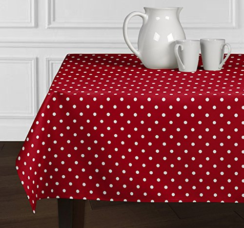 A LuxeHome Red and White Modern Contemporary Polka Dot Tablecloths Dining Room Kitchen Rectangle Oblong 60