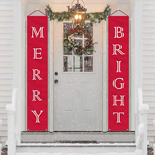 Christmas Decorations Outdoor Indoor – Merry Bright Porch Sign – Red Xmas Decor Banners for Home Wall Door Apartment…