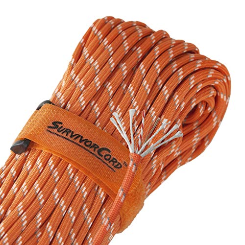 (Titan SurvivorCord | Reflective Orange | 103 Feet | Patented Military Type III 550 Paracord/Parachute Cord (3/16