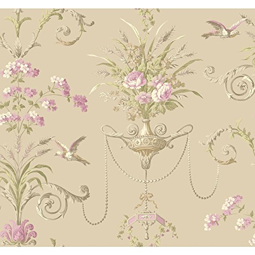 York Wallcoverings NM2902 Normandy Manor Floral Neoclassic with Birds Wallpaper, Soft Metallic Gold, Yellow/Green, Lilac, White