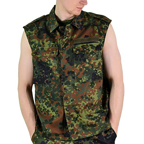 a55fccf967155 Original German Army Vest Zipped Fleck-tarn Camouflage Tactical Combat BW  Military Issue (XXL