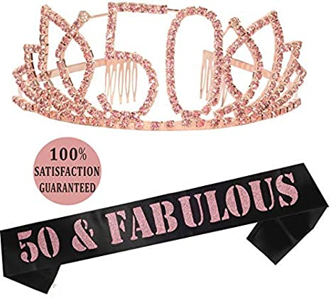 50th Birthday Gifts, 50th Birthday Tiara and Sash, Happy 50th Birthday Party Supplies, 50 Fabulous Black Glitter Satin Sash and Tiara Birthday Crown ...