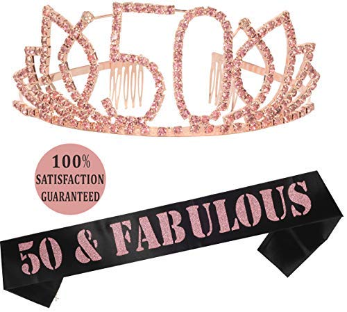 50th Birthday Tiara and Sash| Happy 50th Birthday Party Supplies | 50 & Fabulous Black Glitter Satin Sash and Crystal Tiara Birthday Crown for 50th Birthday Party Supplies and Decorations (50th Birthday Sashes And Tiaras)