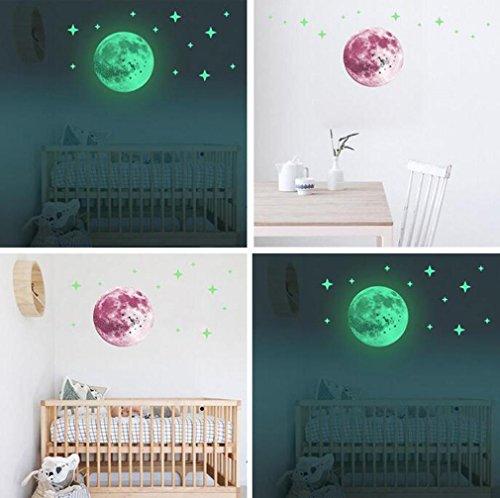 30cm Luminous Wall Stickers Moonlight Home Decor Yellow - 4