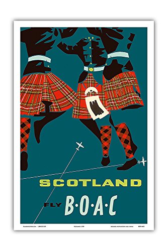 Scotland - Scottish Highland Dancers in Royal Stewart Tartan Kilts - Fly There by BOAC (British Overseas Airways Corporation) - Vintage Airline Travel Poster c.1959 - Master Art Print - 12in x 18in (Scotland Vintage Print)