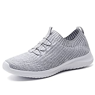 TIOSEBON Women's Lightweight Casual Walking Athletic Shoes Breathable Running Slip-On Sneakers 5 US Gray