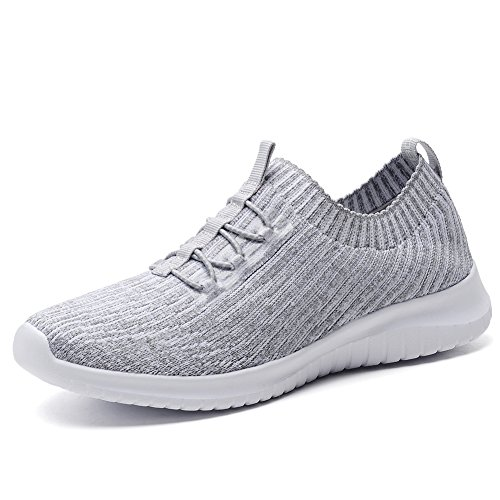 TIOSEBON Women's Lightweight Casual Walking Athletic Shoes Breathable Flyknit Running Slip-On Sneakers 8.5 US Gray