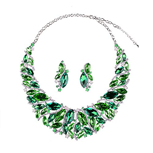 Hamer Bridal Link Costume Jewelry Crystal Choker Pendant Bib Statement Chain Charm Necklace and Earrings Sets (Green) ()