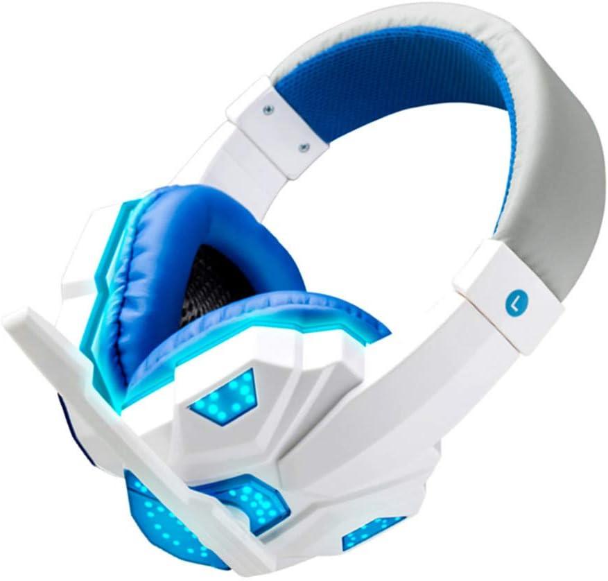 HoSayLike Auriculares De La Computadora con Luz Montado En La Cabeza Juego Auriculares para Juegos MicróFono De Auriculares EstéReo para Juegos sobre La Oreja De 3,5 Mm para N-Switch (Blanco)