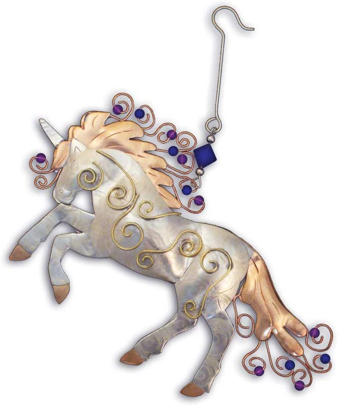 Pilgrim Imports Unicorn Bronze Nickel and Copper Hanging Ornament Garden Planter Handmade Gift Packaged